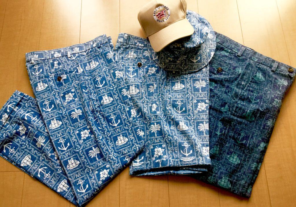 上)スポーツシャツ  (下)カジュアル・パンツとハット